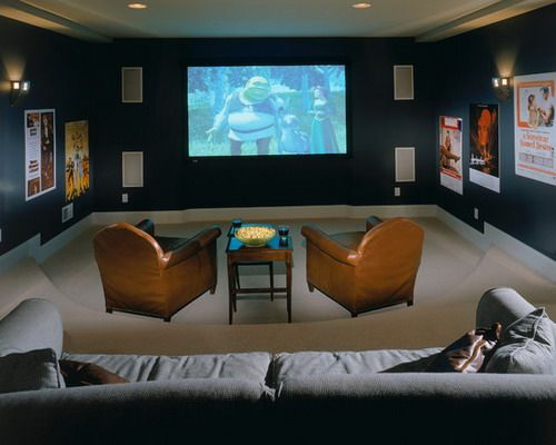 Dark Blue Media Room Color Schemes Traditional Home