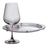 Round Plates with Wine Glass Holder - Set of 4 | Wine ...
