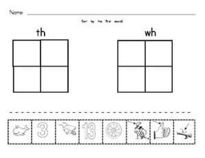 Digraph Worksheets : Sorting Pictures : Beginning Sounds