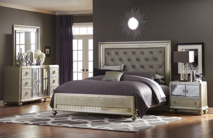 Platinum Platform Bedroom Set  Furniture Bedroom