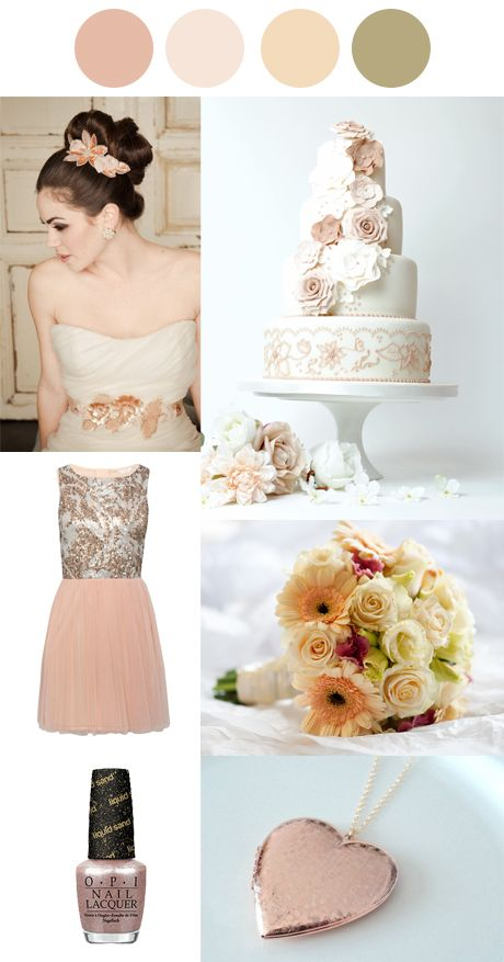 Winter Wedding Palettes  Rose Gold and Peach  Pink