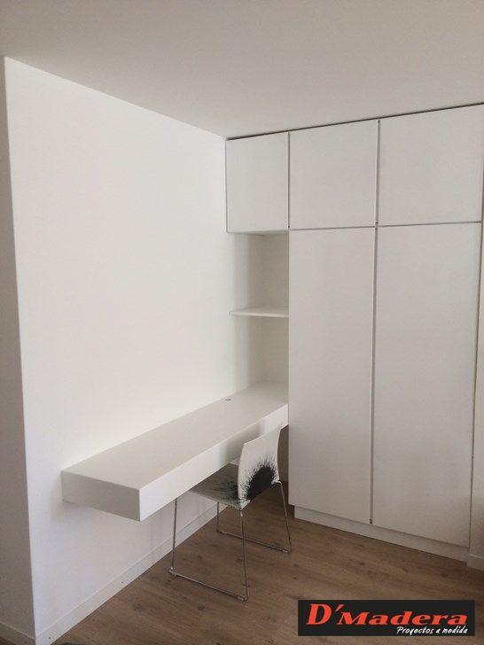armario con escritorio integrado lacado blanco  Ideas
