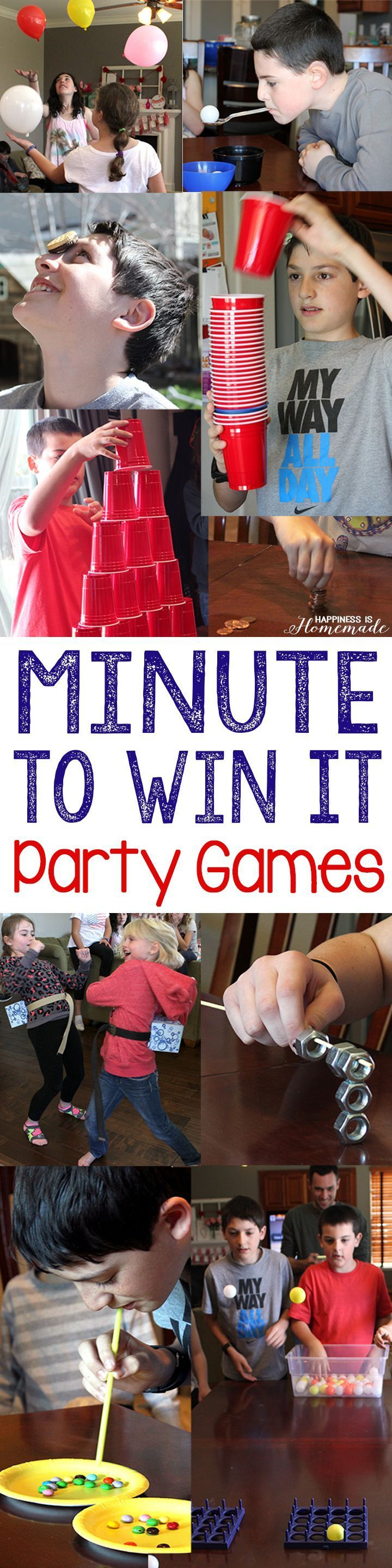 These 10 Minute to Win It games were perfect for all ages (we had guests from ages 4-55 playing these games, and everyone had a