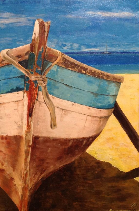 Old Boat Painting Canvas Seascape Acrilyc Painting Wall Art Canvas Anniversary Gift Ocean