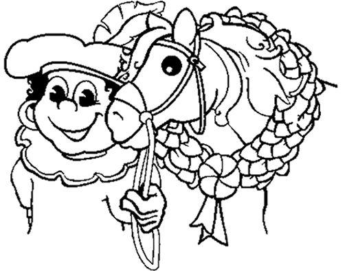 Kleurplaat Sinterklaas Op Scooter Zwarte Piet Op Een