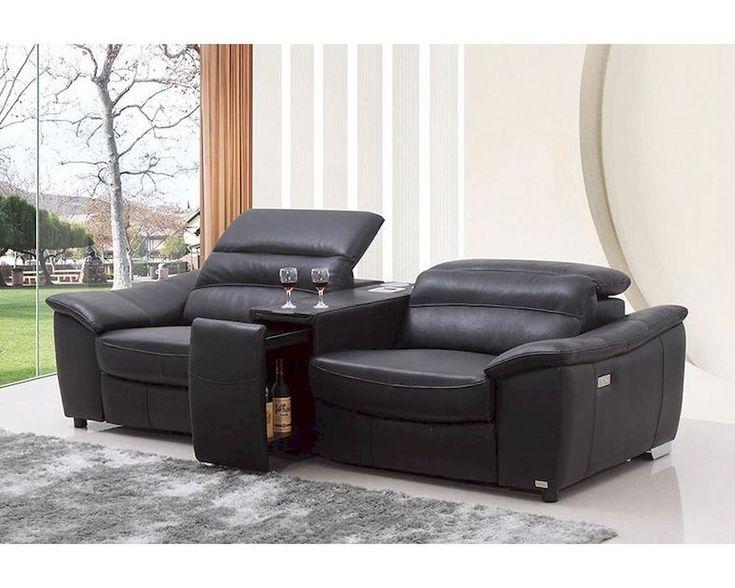 divani casa donovan modern black italian leather recliner