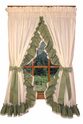 Priscilla Curtains in All Colors  Madelyn Ruffled Priscilla Window Curtains with Lace Edging
