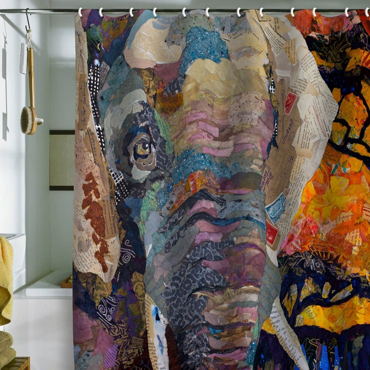 Elizabeth St Hilaire Nelson Elephant Shower Curtain  Spice Elephant shower curtains and Bath