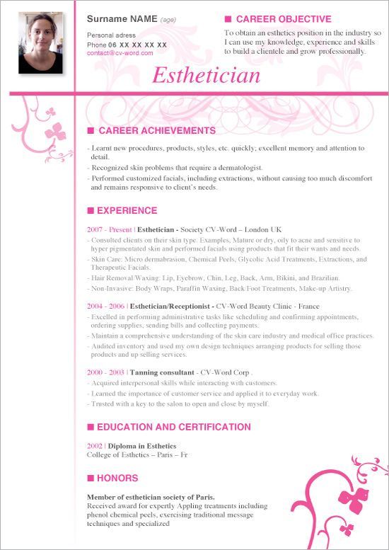 A Resume Example Esthetician | BEST RESUME WRITING EXAMPLES ...