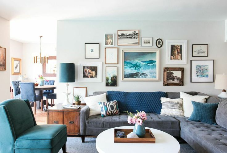 Emily Henderson Blue Living rm, Gray Owl walls, gallery wall, blue & white decor with gold and wood accents to add warmth.