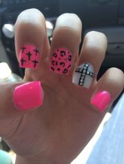 pink cheetah cross acrylic nails