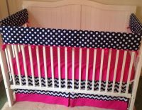 Bumperless Crib Bedding Set Hot Pink And Navy