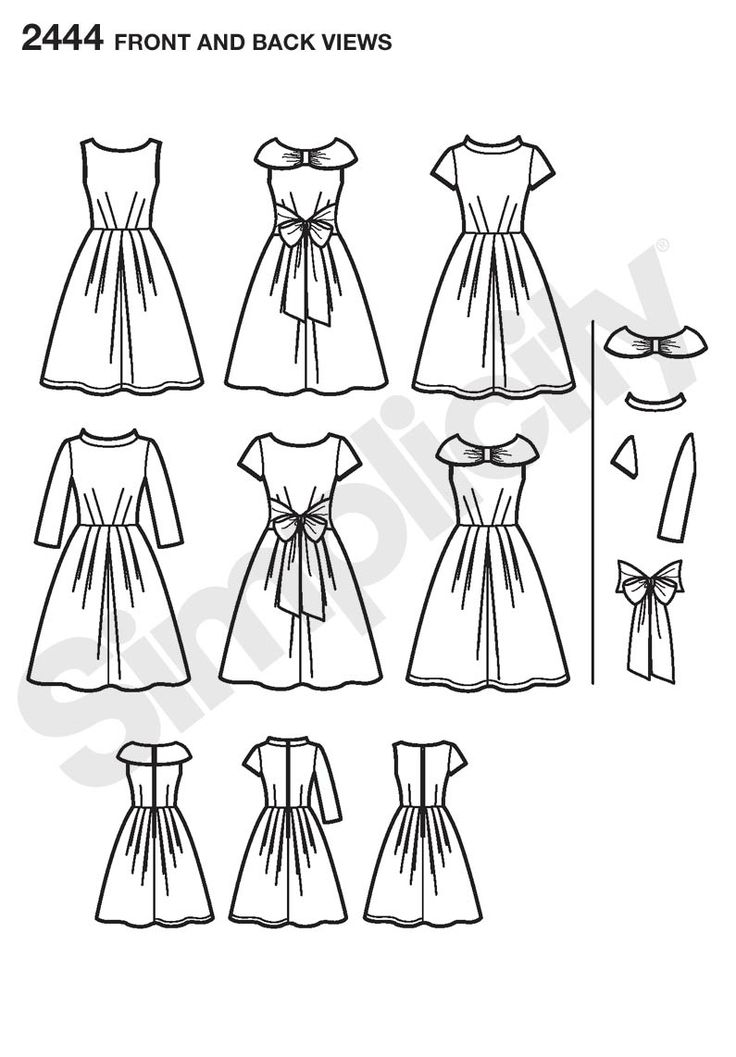 Dress with Collar, Sleeve Project Runway pattern 2444
