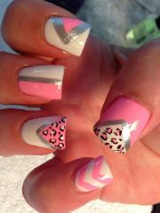 summer-nails-animal-cheetah-print-triangles-triangle-pink-chevron-white-polish-art-cute-nail