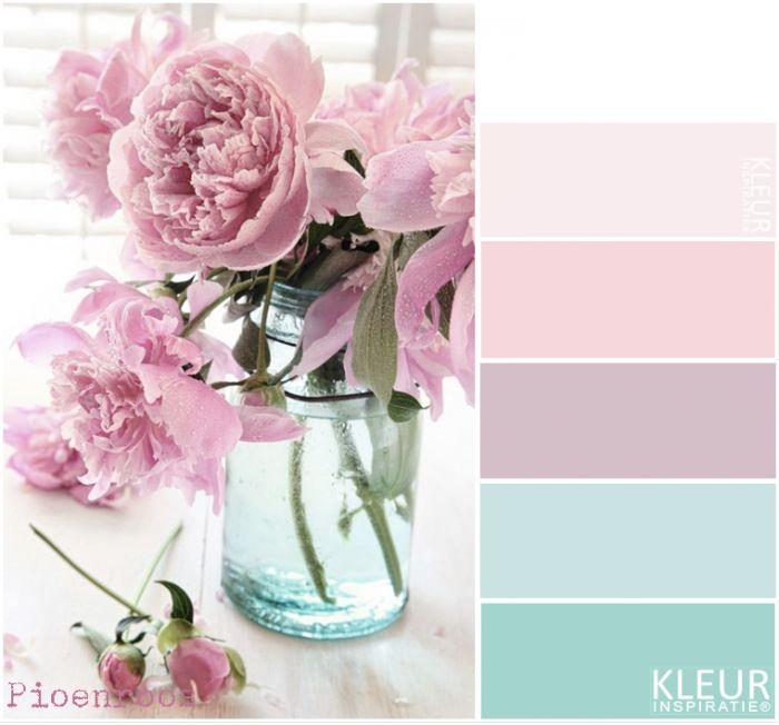 PIOENROZEN  Kleurenpalet pastel Prachtige combinatie