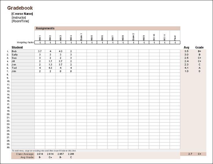 Download the Gradebook for Excel from Vertex42.com