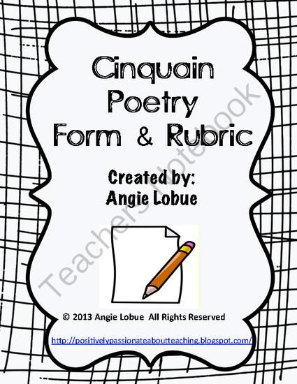 Cinquain Poetry Template and Rubric: Creative Writing Form