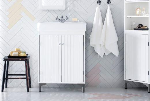 Washbasin cabinet with 2 doors TLLEVIKENSILVERN Light