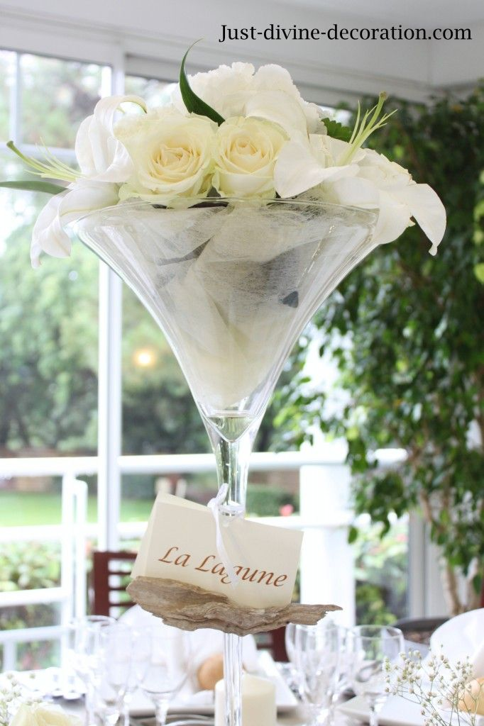 Mariage Blanc Lin Coupe Martini Fleurs Blanches Deco