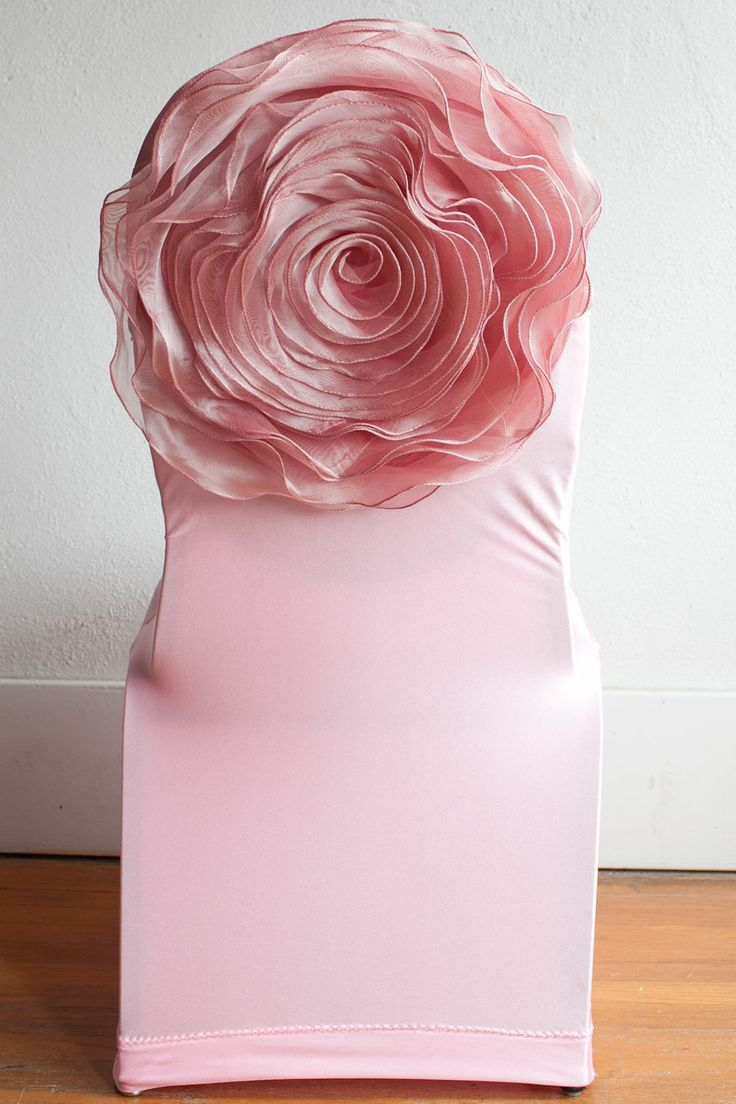 cheap chair covers and sashes wood hand pink lycra cover / flower chairback decor www.bowmanandco.com www.tablescapesbydesign ...