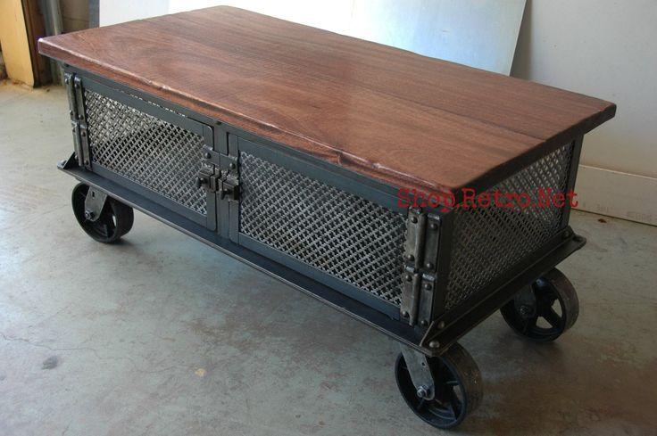 Ellis Coffee Table / Vintage Industrial Flat Panel TV