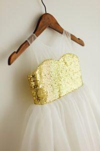 Gold Sequin Sweetheart Sheer Neckline Tulle Flower Girl ...