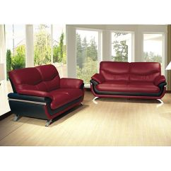 Alicia Two Tone Modern Sofa And Loveseat Set Restoration Hardware Maxwell Leather Review Red/ Black Two-tone