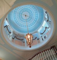 gorgeous rotunda with ceiling dome painted in sky blue