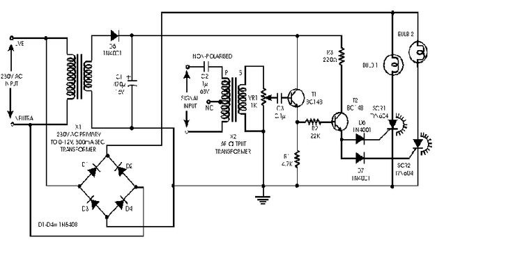 audio light modulator sound controlled light circuit diagram
