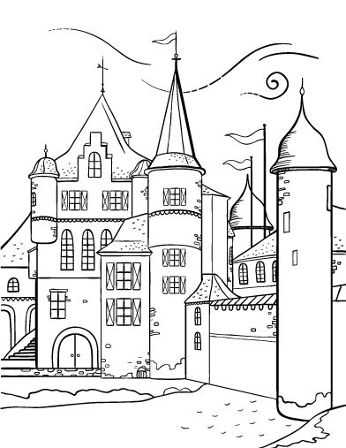 Printable castle coloring page. Free PDF download at http
