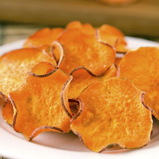 Sweet Potato Chips slice sweet potatoes thinly on a mandolin slicer, toss the slices in one teaspoon of olive oil, lay them out on