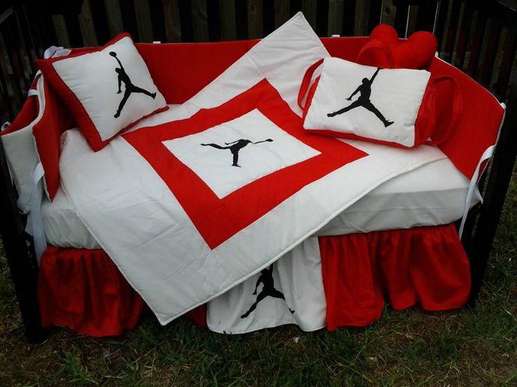 MICHAEL JORDAN Red and White Crib Bedding Set  baby nike
