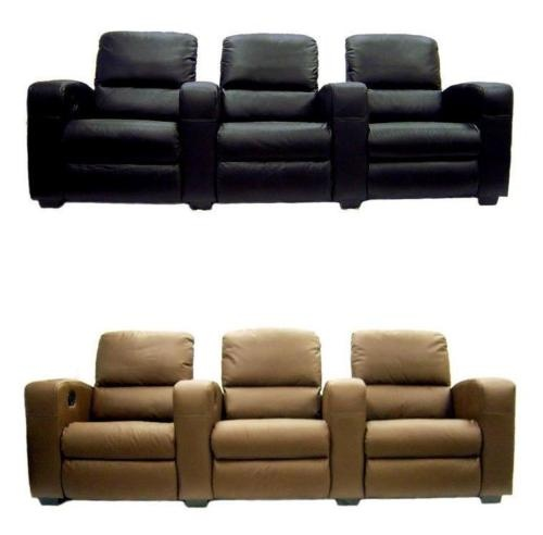 Movie home theater seats leather recliners 3 chairs 2