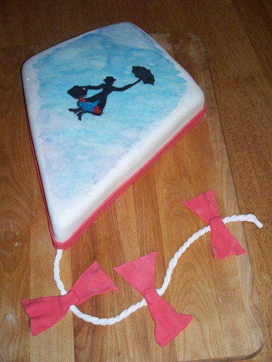 Fondant Cake Birthday Cake Mary Poppins on a kite cake
