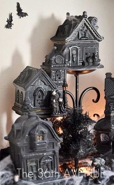 Halloween: Did you know you can transform a Christmas Village from the Dollar Store into a spooky town... Check out how!: