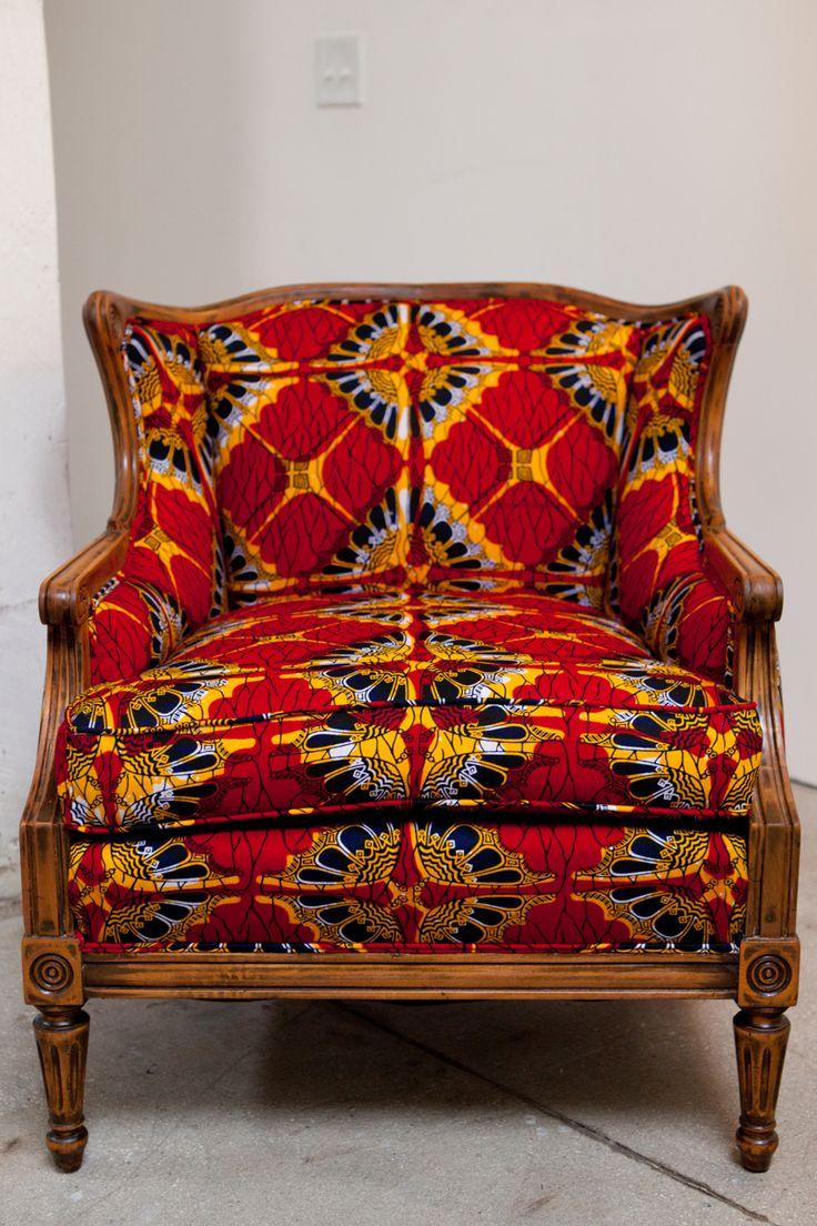 African print fabric upholstered chair  wax  Pinterest