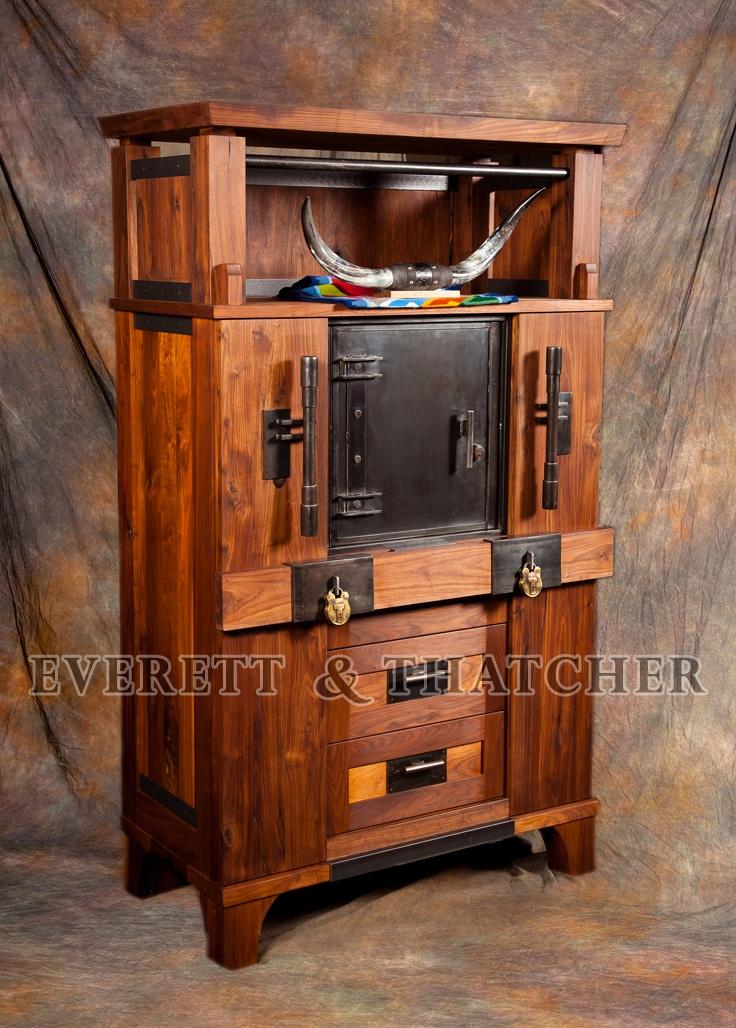 gun safe gun cabinet strong box walnut armoire