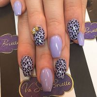 Lavender coffin nails with leopard print | NAILS ...