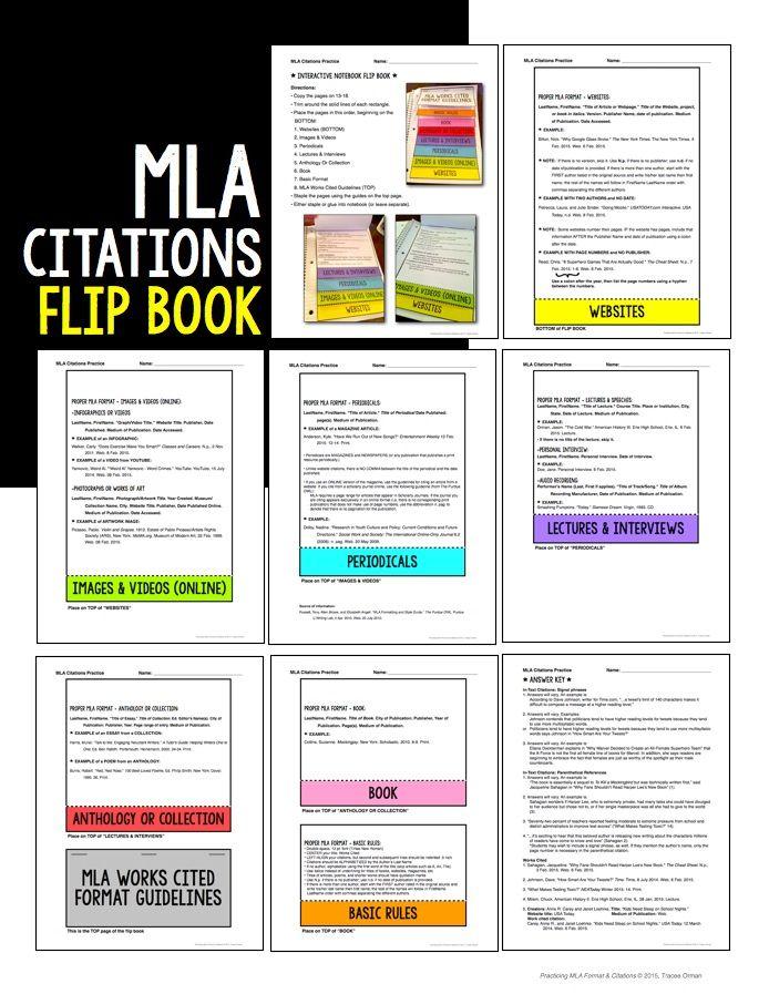 MLA Format Works Cited Flip Book S