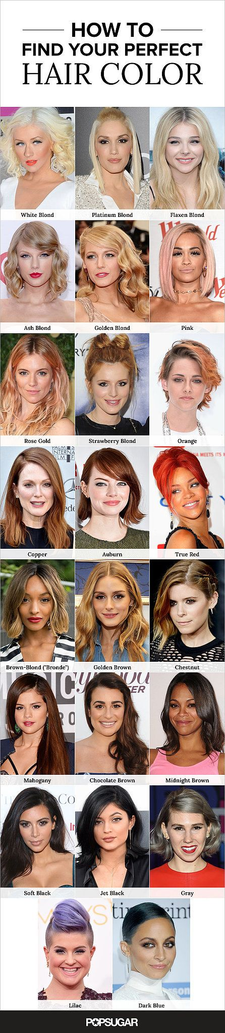 From the brightest blond to the darkest brunette, our hair-color guide covers them all.