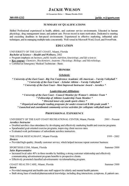 sample resume of college student