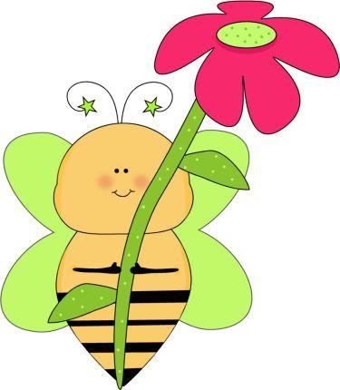 flower clip art green star bee