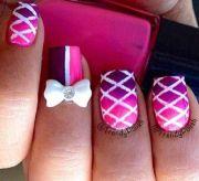 pink bow nails design nail