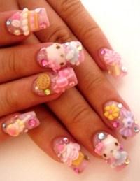 Hello Kitty 3D Nails..Cute!!   nailart   Pinterest   3d ...
