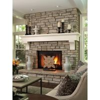 tall stone fireplace found on Polyvore
