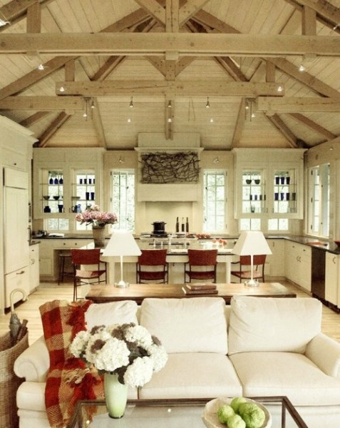 open kitchen with ceiling beams 1000+ images about House Designs on Pinterest | Barn homes
