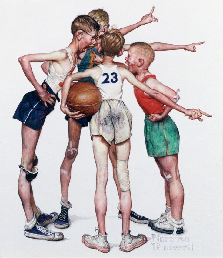 Norman Rockwell, Four Sporting Boys Basketball