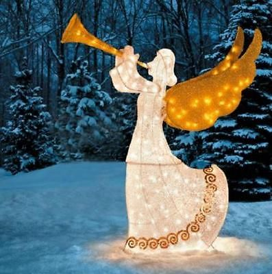 56 OUTDOOR ANIMATED LIGHTED CHRISTMAS TRUMPETING ANGEL