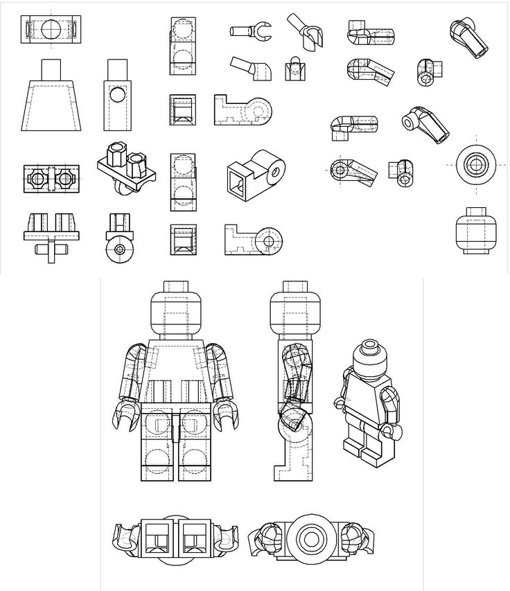 Solidworks CAD drawing I did of the Lego man. Posting