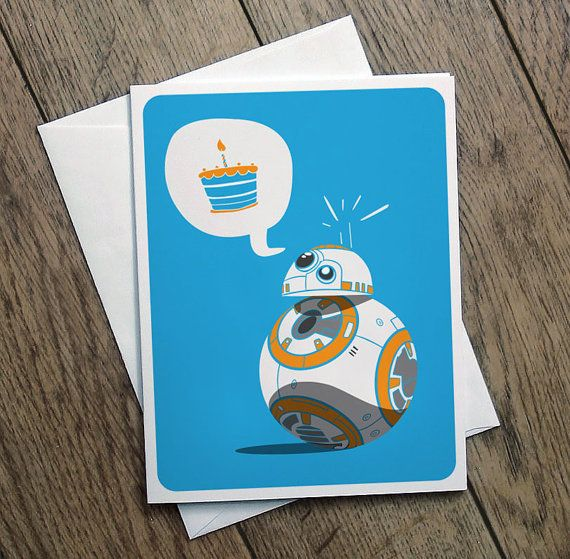BB8 Birthday Card Illustration Star Wars Printable Cute